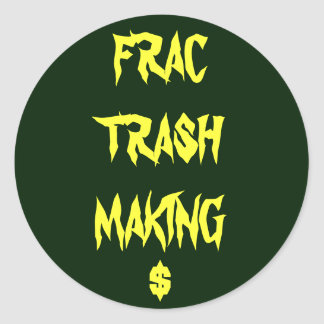 frac trash classic round sticker