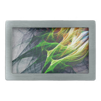 Fractal abstract pattern art in 3d rectangular belt buckles