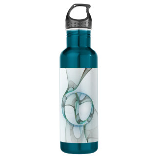 Fractal Art Blue Turquoise Gray Abstract Elegance 710 Ml Water Bottle