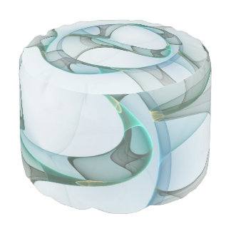 Fractal Art Blue Turquoise Gray Abstract Elegance Pouf