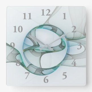 Fractal Art Blue Turquoise Gray Abstract Elegance Wall Clock