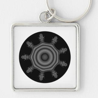 Fractal art in Black and Gray. Keychain