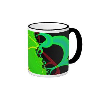 Fractal Art in Green and Black Coffee Mugs