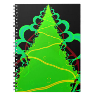 Fractal Art in Green and Black Spiral Note Books