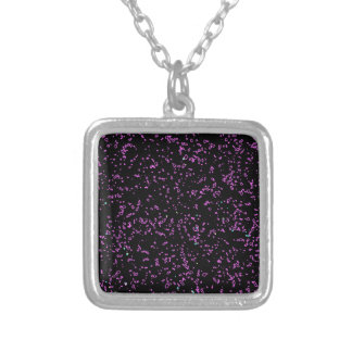 Fractal Art Purple Pink Glitter Patterns Black Silver Plated Necklace