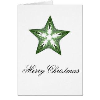 Fractal Art Star in Green Greeting Card