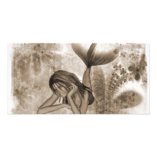 Fractal Background 3D Mermaid Brown Custom Photo Card