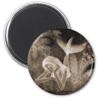 Fractal Background 3D Mermaid Brown Negative Magnet
