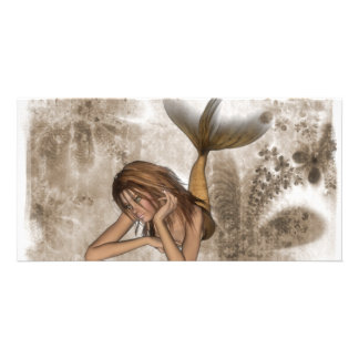 Fractal Background 3D Mermaid Customized Photo Card
