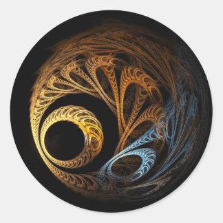 fractal ball round sticker