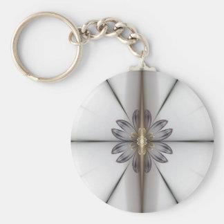 fractal basic round button keychain