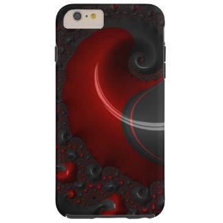 Fractal Black Red Goth Gothic Elegant Spiral Deco Tough iPhone 6 Plus Case