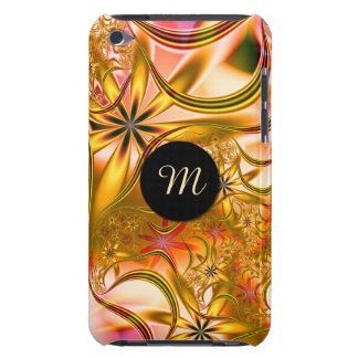 Fractal Blossoming Gold Monogram iPod Case-Mate Cases