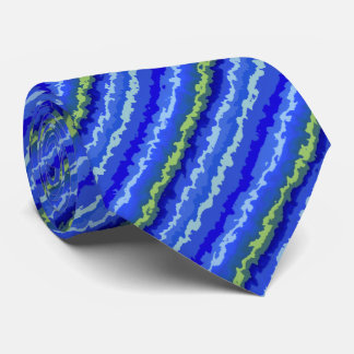 Fractal Blue and Green Diagonal Stripes Tie