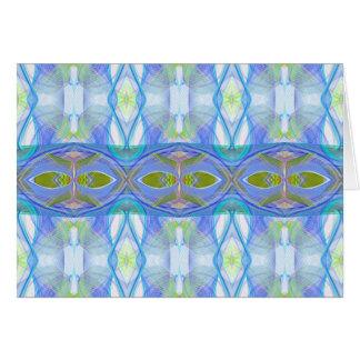 fractal blue ethnic pattern. card