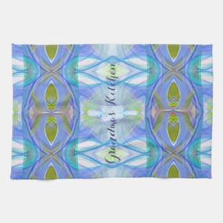 fractal blue ethnic pattern. kitchen towel