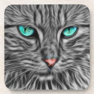 Fractal Blue Eyed Cat Coaster