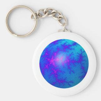 Fractal Blue Globe Basic Round Button Keychain
