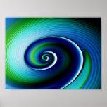 Fractal Blue Green Spiral Abstract Art Poster