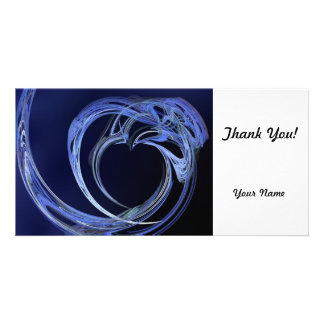 Fractal Blue Heart Customized Photo Card
