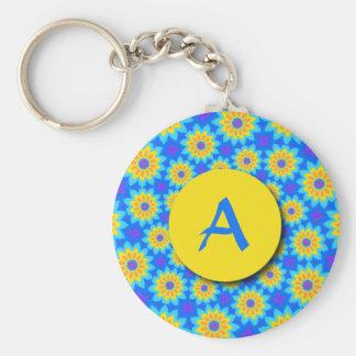 Fractal Blue Patchwork Daisies Monogram Keychain