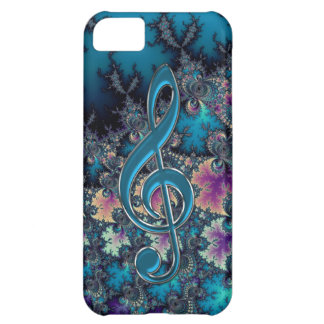 Fractal Blues with Metallic Music Clef iPhone Case