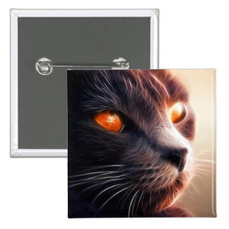Fractal cat on bright lights 2 inch square button