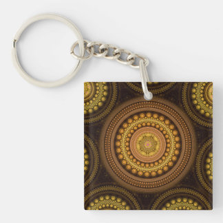 Fractal Circles Double-Sided Square Acrylic Keychain