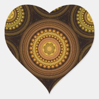 Fractal Circles Heart Sticker