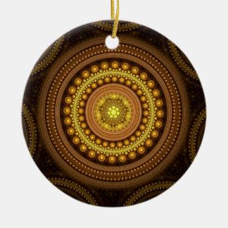 Fractal Circles Round Ceramic Ornament