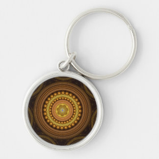 Fractal Circles Silver-Colored Round Keychain
