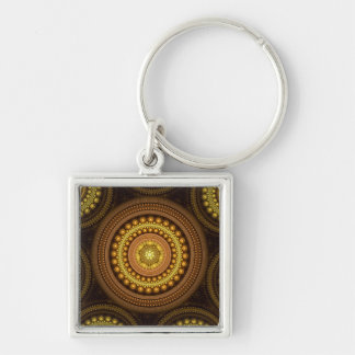 Fractal Circles Silver-Colored Square Keychain