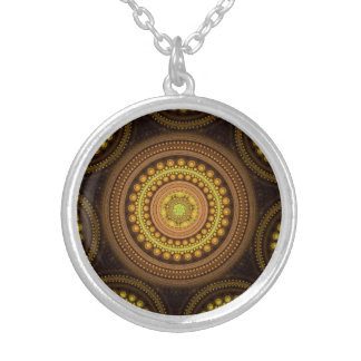 Fractal Circles Silver Plated Necklace