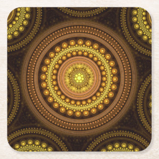 Fractal Circles Square Paper Coaster