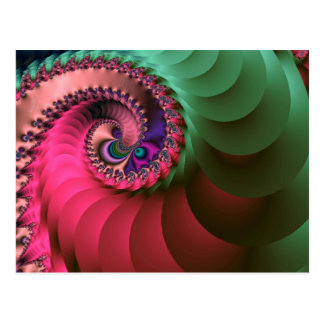 fractal Coloured  Spirals. Postcard