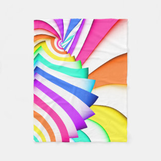 Fractal Curved Stripes Fleece Blanket