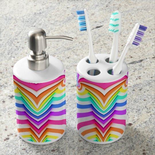 Fractal Curved Stripes Soap Dispenser And Toothbrush Holder