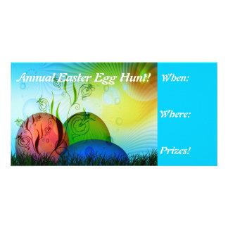 Fractal Easter Egg Hunt Invites Photo Card Template