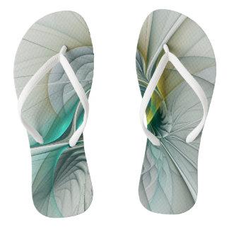 Fractal Evolution, Golden Turquoise Abstract Art Flip Flops
