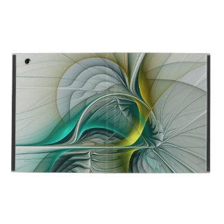 Fractal Evolution, Golden Turquoise Abstract Art iPad Folio Case