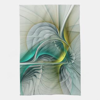 Fractal Evolution, Golden Turquoise Abstract Art Kitchen Towel