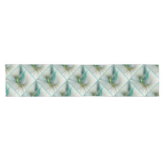 Fractal Evolution, Golden Turquoise Abstract Art Short Table Runner