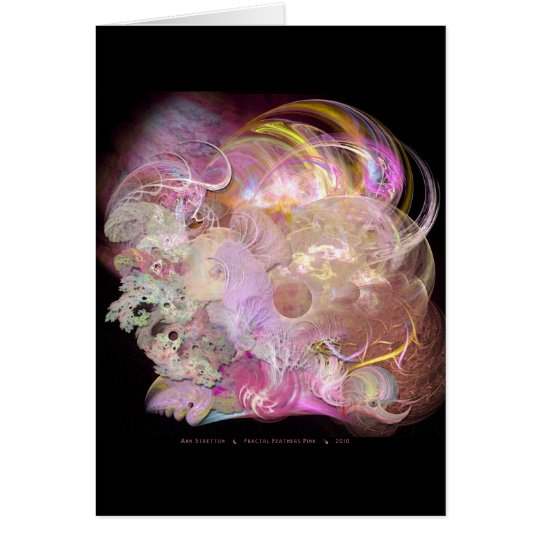 Fractal Feathers Pink Card