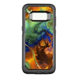 Fractal Flames of Aqua, Blue and Orange OtterBox Commuter Samsung Galaxy S8 Case