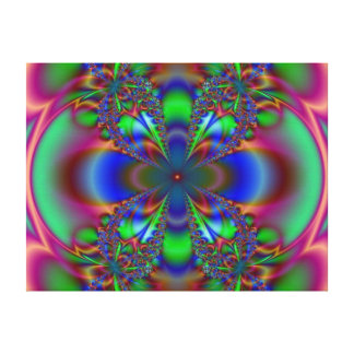 Fractal Flower In Blue And Green Canvas Print