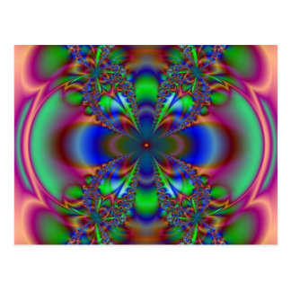 Fractal Flower In Multi Colors Postcard