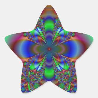 Fractal Flower In Multi Colors Star Sticker