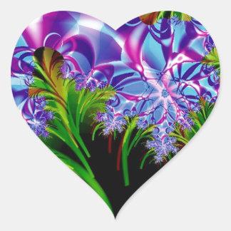 Fractal flowers heart sticker