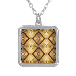Fractal Geometric Deep Yellow Brown Pattern Silver Plated Necklace