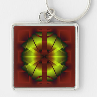 Fractal Geometry Silver-Colored Square Keychain